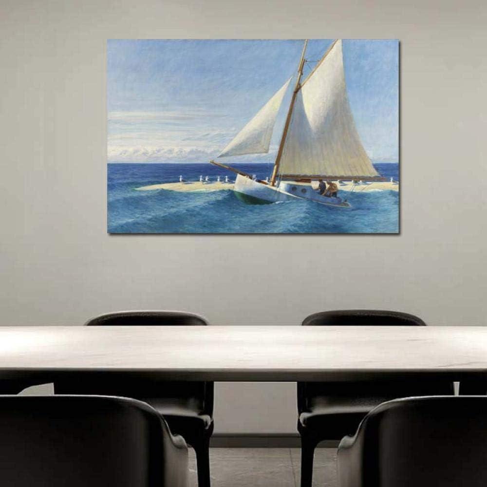 Chihie Edward Hopper Sailing Boat Pintura en Lienzo Imprimir Sala de Estar Decoración del hogar Obra Moderna Arte de la Pared Pintura al óleo Poster Picture 40cm x60cm Sin Marco