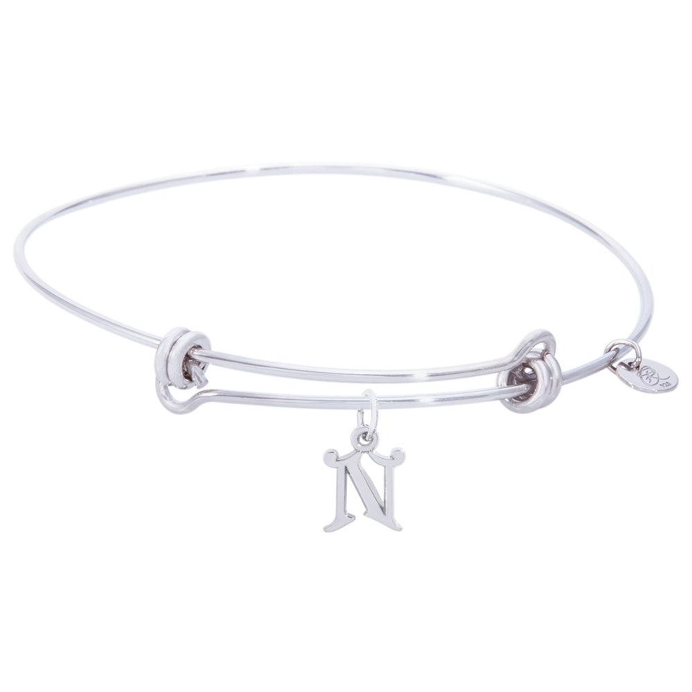 Sterling Silver Rembrandt Initial N Charm Expandable Wire Balanced Bangle
