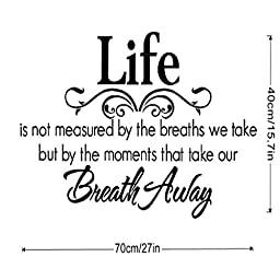 Wall Sticker, Hatop Life Is Not Measured By the Breaths We Take, but By the Moments That Take Our Breath Away Wall Lettering Stickers Quotes and Sayings Home Art
