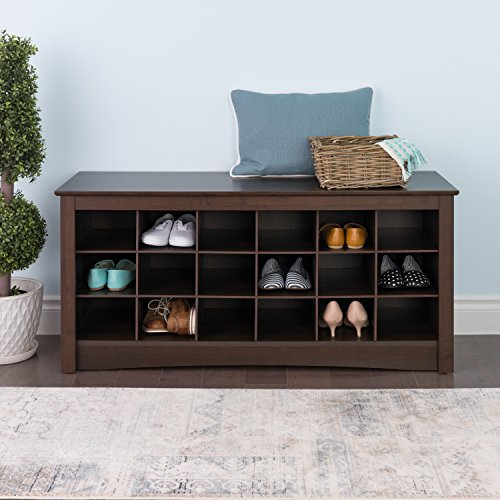 Espresso Shoe Cubbie Bench (Shoe Rack Cubby)