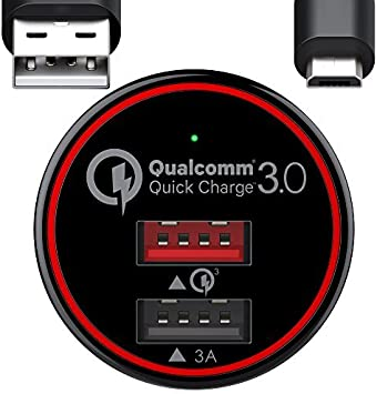 BC Master BCM-CQ01 Quick Charge 3.0 USB Cargador de Coche 34.5W con Cable Micro USB de 1m , Negro y Rojo