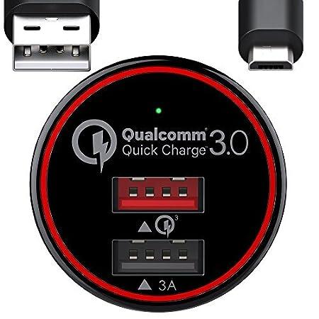 Caricabatteria auto USB, Caricatore adattatore, Quick Charge (5V/3A TI Smart + 1 QC3.0) con 2 Porte, Cavo Micro USB da 1m incluso, per iPhone X, 8, 8plus, 7, 7plus, 6S, 6S plus, Samsung S9, S9 plus, Note 8. BC MASTER BC M-CQ01