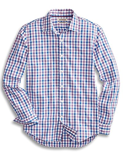 (Goodthreads Men's Slim-Fit Long-Sleeve Gingham Plaid Poplin Shirt, Purple/Blue, Small)