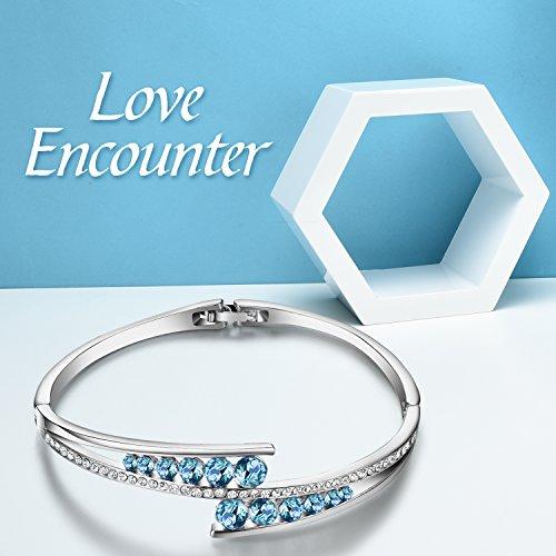 Menton Ezil ''Love Encounter Sapphire Blue Swarovski Bracelets Woman Bangle 7'' Charm Tennis Jewelry by Menton Ezil (Image #3)