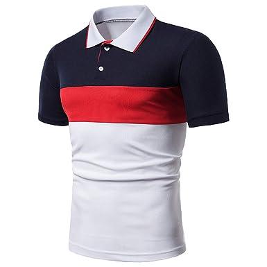 7b4e5072ed aiNMkm Holiday Polo Shirt Fashion Men's Striped tri-Color Stitching ...