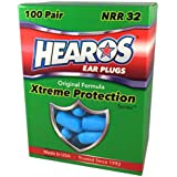 HEAROS XTREME Foam Earplugs, 32dB NRR Ear Plugs, 100 pairs, Foam Ear Plugs Noise Reduction & Hearing Protection For Sleeping, Snoring, Working, Shooting, Travel, Concerts