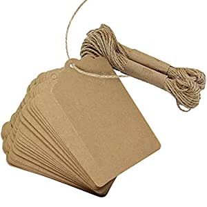 Marrywindix 100pcs Kraft Paper Kraft Tag DIY Blessing Easter Cards Greeting Card Wedding Brown Retangle Kraft Label Bonbonniere Favor Gift Tags with Jute Twines