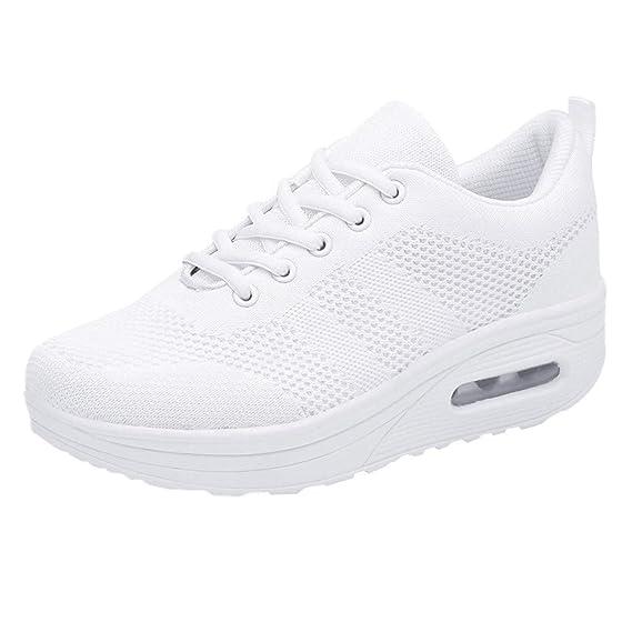 ❤ Zapatillas de Deporte para Las Mujeres Fondo Grueso, Mujer Ocio Malla Transpirable Fondo Grueso Zapatos Deportivos Bottom Ladies Sneakers Absolute: ...