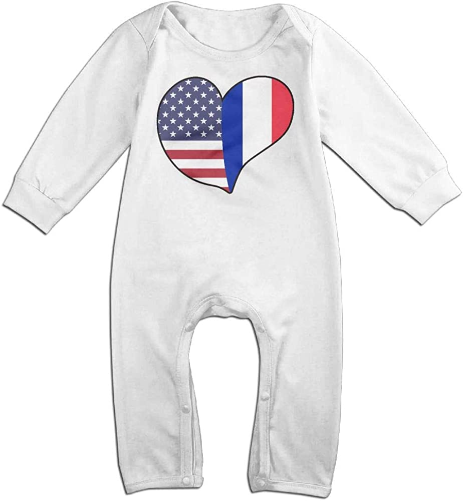 Mri-le1 Newborn Kids Long Sleeve Jumpsuit France Flag Baby Clothes