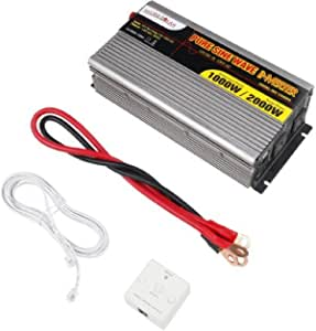 MicroSolar 12V 1000W (Peak 2000W) Pure Sine Wave Inverter - with Battery Cable & Remote Wire Controller