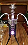 27'' Zebra Smoke Solid Glass Hookah with Tripod Stand Glass/Silicone Hose and Glass Bowl