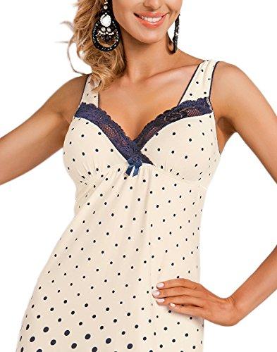incartata camicia una qualità Scuro a negligé fantastica notte di regalo confezione Donna fiori Blu prima da Meravigliosa Écru in 4qwfWxSv