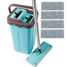 kalokelvin Microfiber Squeeze Mop and Bucket System for Home Bathroom Windows Floor Cleaning with 4 Washable Flat Microfiber Mop Pads