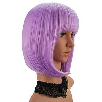 wig Peluca Corta De Bob Cosplay Pelucas Cortas para Mujeres Pelo Sintético con Flequillo,Purple