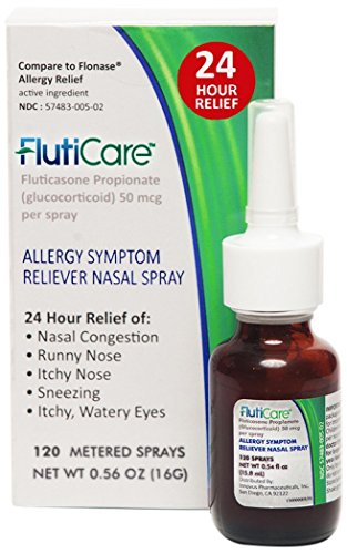 FlutiCare Allergy Relief Nasal Spray-Relief During Allergy Season for Pollen, Dust, and Other Indoor and Outdoor Allergens-Full Prescription Strength 120 sp Fluticasone Propionate (Indoor Allergy Relief)
