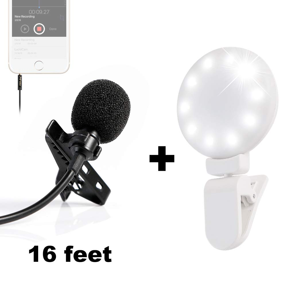 PoP voice 16 Feet Lavalier Lapel Microphone Omnidirectional Condenser Mic with Fill Light by PoP voice