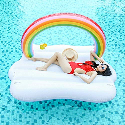 Inflatable Rainbow Cloud Pool Float, Giant Swimming Pool, Lake, Beach Party Inflatable Lounge Raft