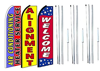 Air+Conditioning+Heater+Service,+Alignment Grand Opening King Swooper Feather Flag Sign Kit with Complete Hybrid Pole Set Pack of 3