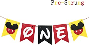 Mickey Mouse First Birthday Banner Handmade 1st Birthday Party Decorations High Chair Banner,Mickey Mouse Baby Boy Photo Booth Props