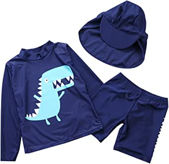 Boys Long Sleeve Swimwear Dinosaur UV Sun Protection Rashguard Swimsuit with Hat