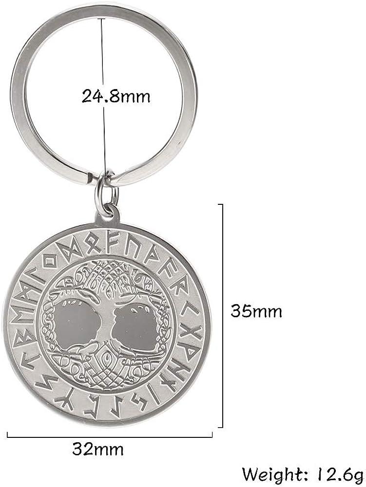 dise/ño de /árbol de la vida dise/ño de runas grabadas Llavero con colgante de amuleto vikingo VASSAGO