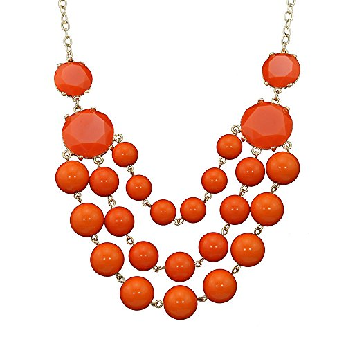 Africanbeads Women's Beads Necklace, Statement Jewelry, Chunky Necklace, Bubble - Necklace Statement Orange