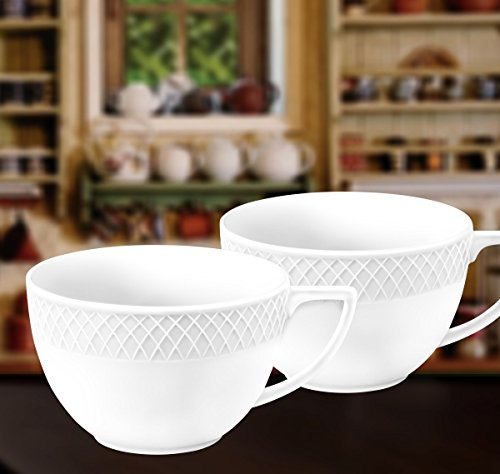 Jumbo Saucer (Wilmax WL-880109, 17 oz. Julia Collection White Porcelain Jumbo Mugs, Classic European Bone China Hot Drinks Coffee Tea Mug/Cup, Gift Box Set of 2)