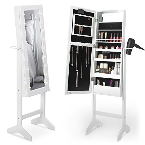 Beautify Mirrored Jewelry Makeup Armoire with LED Lights Floor Standing Organizer Cabinet with Internal and External Mirror - Standing Dryer Floor