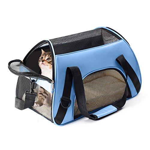 Portable Pet Carrier, Airline Approved Kennel Cat Soft-Sided Carrier, Under Seat Design Travel Tote for Cats and Puppies with Fleece Pads