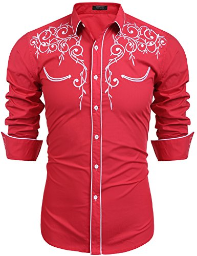 COOFANDY Men's Long Sleeve Shirt Embroidery Slim Fit Casual Button Down Shirt,Medium,01-red ()