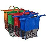 BonBon Reusable Shopping Cart Trolley Bags, Heavy Duty With Handles - Foldable and Washable, Set of 4 (Red, Blue, Green, Orange)