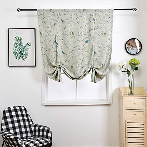 (Transer- Bird and Branch Printing Thermal Insulated Blackout Roman Shades Blinds Window Curtain Valance with Rod Pocket (Beige, 64x42.8 Inches))