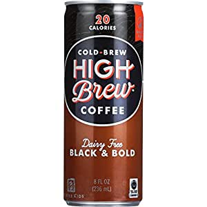 High Brew Coffee - Ready to Drink - Black and Bold - Dairy Free - 8 oz - Case of 12 - 20 Calories