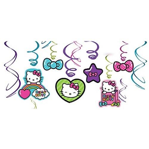 Hello Kitty 'Rainbow' Hanging Swirl Decorations (12ct) ()
