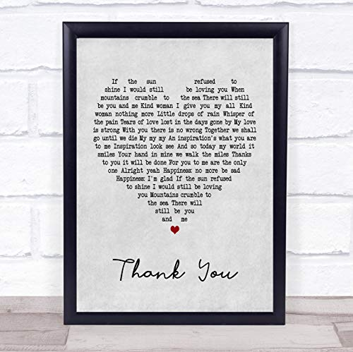 (Thank You Grey Heart Song Lyric Quote Print)