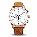 Guool Stainless Steel Watch with Leather Band Fashion Quartz Waterproof Wrist Dress Watch Water Resistant With Gift Box