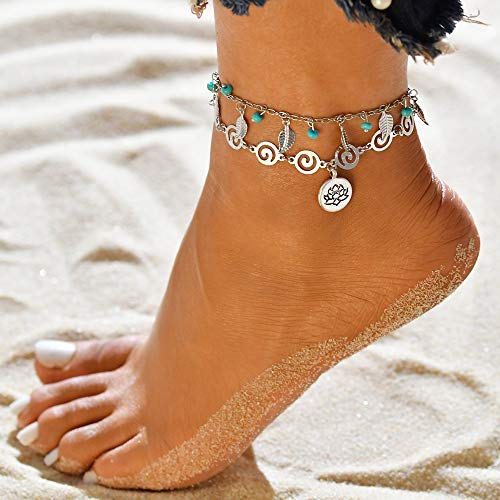 Jovono Blue Boho Beaded Anklets Miltilayered Leaf Anklet Bracelets Beach Foot Jewelry for Women and Girls (Lotus)