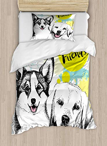 Fantasy Star Comforter Bedding Set, Best Friends Typography with Hand Drawn Sketch Welsh Corgi Grunge Illustration 4 Piece Duvet Cover Set Include 1 Flat Sheet 1 Duvet Cover and 2 Pillow Cases, Twin