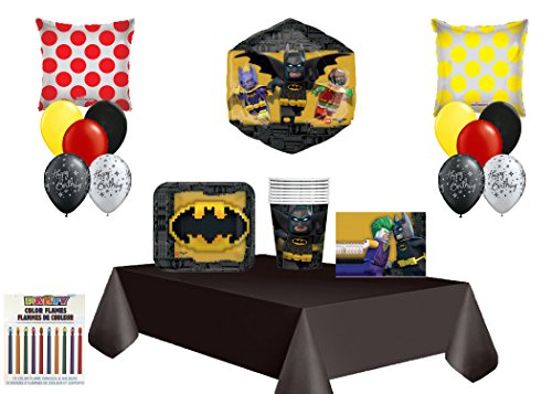 Batman Lego Movie Theme Birthday Balloon Bouquet/& Party Supply 8 CT Guest (Games Birthday Party Lego)