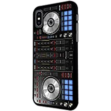 "001061 - Cool Fun Dj Mixer Turntable Vintage Retro Music Dance Clubber RnB Hip Hop Rave Club Design For iphone X 5.8"" Fashion Trend CASE Back COVER Plastic&Thin Metal - Black"