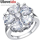 Laprapha Pink CZ Created Diamond Ring Fashion Jewelry Sterling Silver Rings for Women with Eight Colors