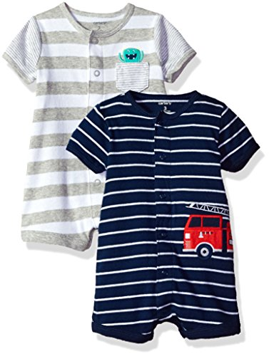 Carter's Baby Boys' 2-Pack Snap up Romper, Monster/Fire Truck, 12 Months