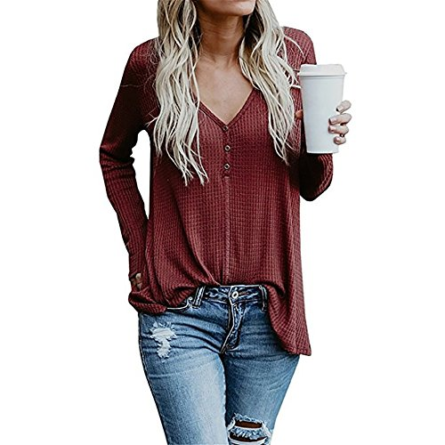 Roselux Women's Long Sleeve Button V Neck Henley Tops Casual Loose Knit Pullover Sweater Blouses(Wine Red,S) ()