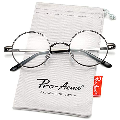 Pro Acme Non Prescription Clear Lens Glasses Retro Small Round Metal Frame (Gunmetal)