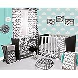 Bacati Ikat White/Grey 4 Piece Crib Set with 2 Muslin Blankets