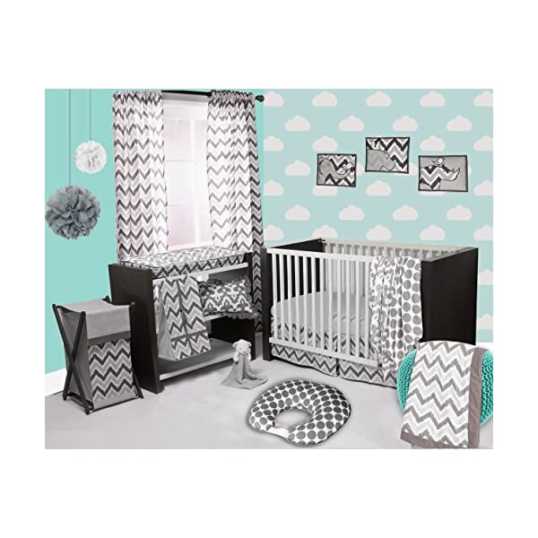 Bacati Ikat Chevron Muslin 10 Piece Crib Set with 2 Sheets, White/Grey
