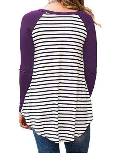 Raglan Stripe Longues Baseball Tee T Tops Tunique Shirt Violet Blouse Manches Dromild x4XqpwER