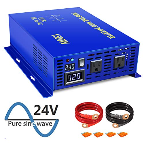 XYZ INVT 1500W Power Inverter 24V DC to 110V 120V AC with LED Display Dual AC Outlets for RV Truck Boat 1500W24V