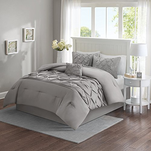 Comfort Spaces – Cavoy Comforter Set – 5 Piece – Tufted Pattern – Gray – Full / Queen size, includes 1 Comforter, 2 Shams, 1 Decorative Pillow, 1 Bed Skirt