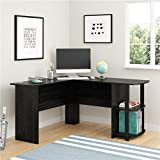 Black Modern L-Shaped Computer Desk | Perfect Contemporary Home Office or College Student Dorm Room Storage Table for Your PC, Laptop, Monitor, Books, Papers and Supplies